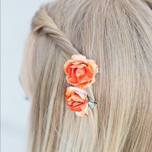 Jewelry - Rose Garden Glam Orange Hair Clips